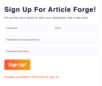 Article Forge Signup